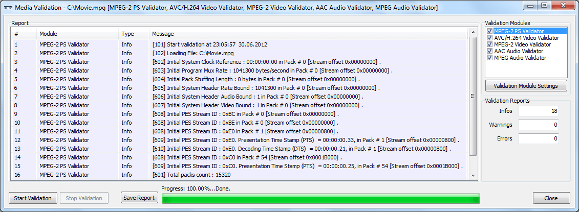 MPEG PS Validation