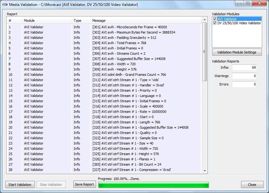 AVI Validation Preview