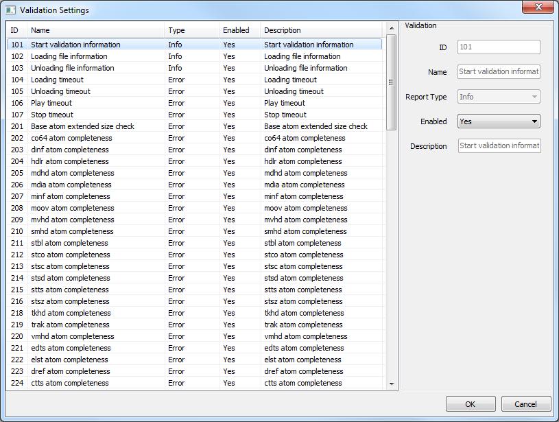 AtomBox Studio Validation Settings Advanced preview