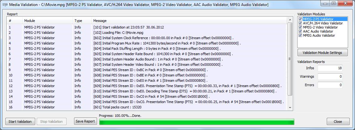 MPEG PS Validation