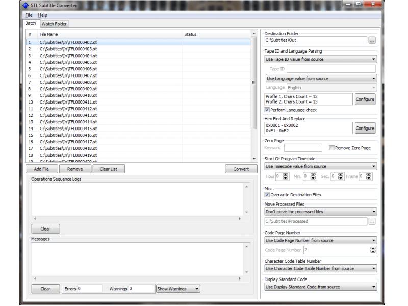 STL Subtitle Converter Batch Main Preview